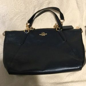 🎁Coach Metallic Denim Sm. Kelsey Chain Satchel🎁